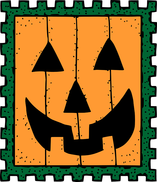 clipart of a jack-o-lantern stamp