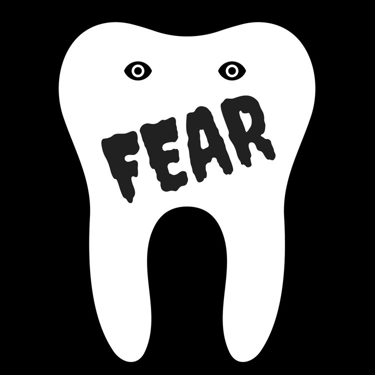 """black background with white tooth outline, and the word """"Fear"""" in a scary font. Tooth has eyes."""
